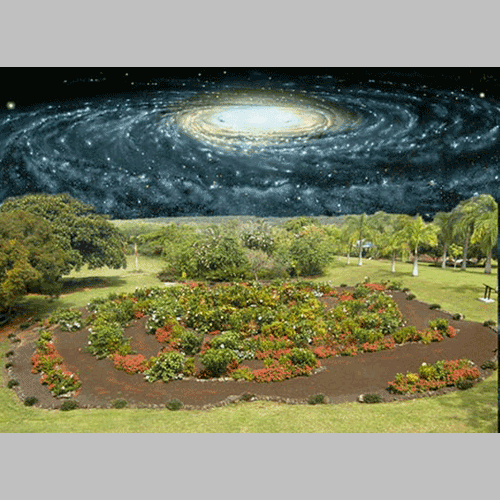 Galaxy Garden composite view - Photomontage by Jon Lomberg